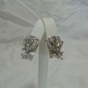 Vintage Silver Rose Clip On Earrings